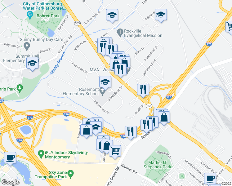 map of restaurants, bars, coffee shops, grocery stores, and more near 8907 Edgewood Drive in Gaithersburg