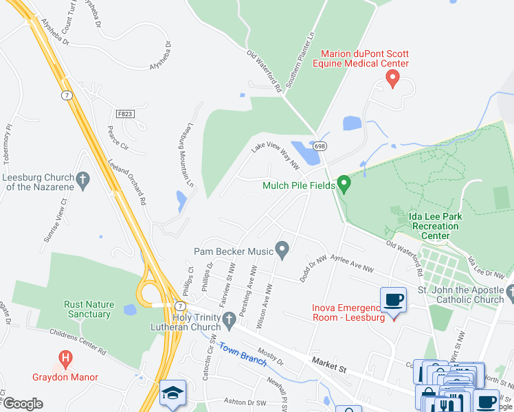 map of restaurants, bars, coffee shops, grocery stores, and more near 237 Fairview Street Northwest in Leesburg