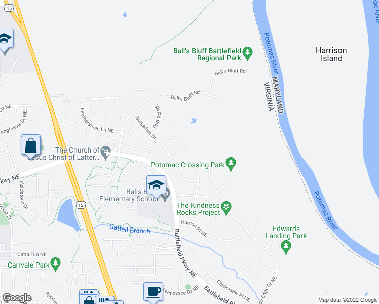 map of restaurants, bars, coffee shops, grocery stores, and more near 610 Smartts Ln NE in Leesburg