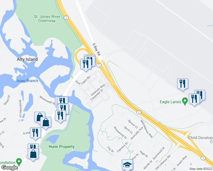 map of restaurants, bars, coffee shops, grocery stores, and more near 17-21 Dover Air Park in Dover