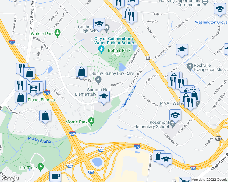map of restaurants, bars, coffee shops, grocery stores, and more near 7 McCausland Place in Gaithersburg