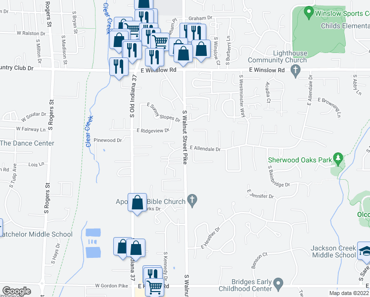 map of restaurants, bars, coffee shops, grocery stores, and more near East Allendale Drive in Bloomington