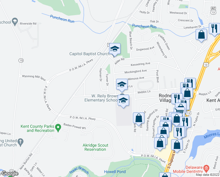 map of restaurants, bars, coffee shops, grocery stores, and more near 435 Alder Road in Dover