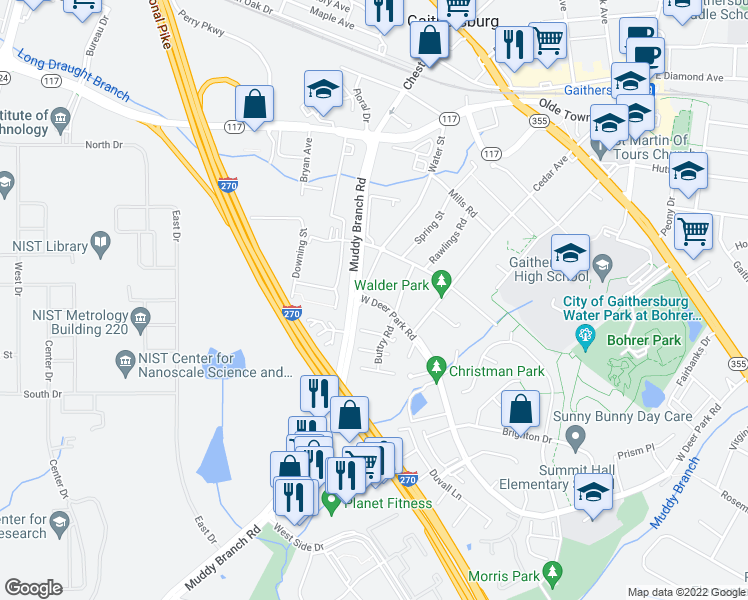 map of restaurants, bars, coffee shops, grocery stores, and more near 217 Water Street in Gaithersburg