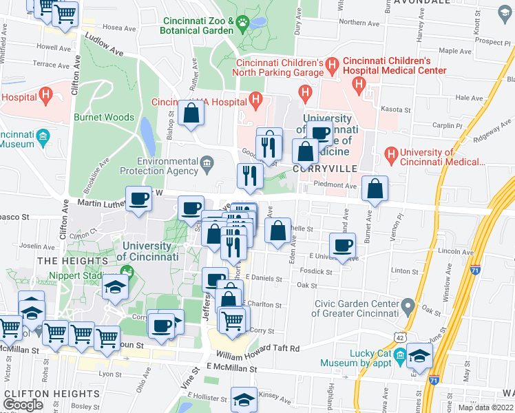 map of restaurants, bars, coffee shops, grocery stores, and more near Ahrens Street in Cincinnati