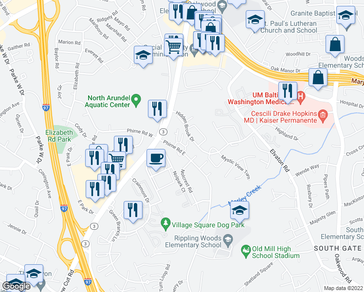 map of restaurants, bars, coffee shops, grocery stores, and more near Glen Mar Road in Glen Burnie