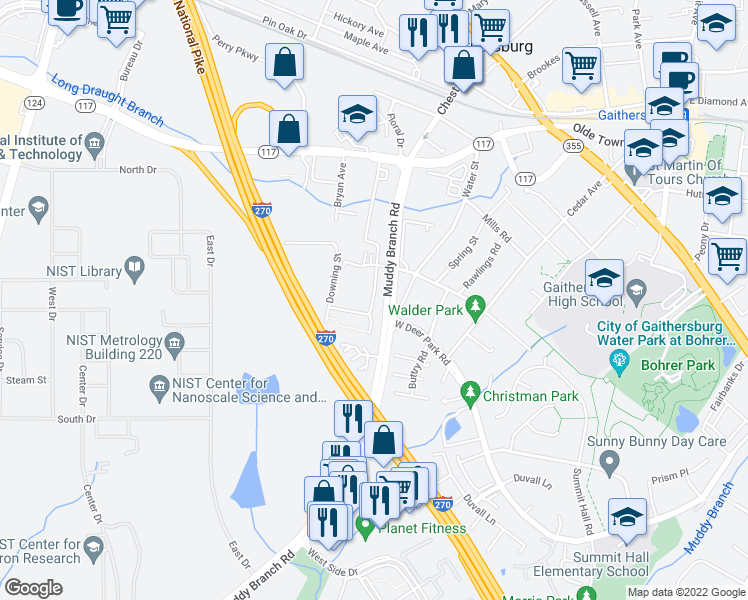 map of restaurants, bars, coffee shops, grocery stores, and more near 17009-17015 King James Way in Gaithersburg