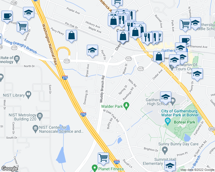 map of restaurants, bars, coffee shops, grocery stores, and more near 17101 Queen Victoria Court in Gaithersburg