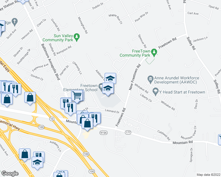 map of restaurants, bars, coffee shops, grocery stores, and more near 207 Tessing Court in Glen Burnie