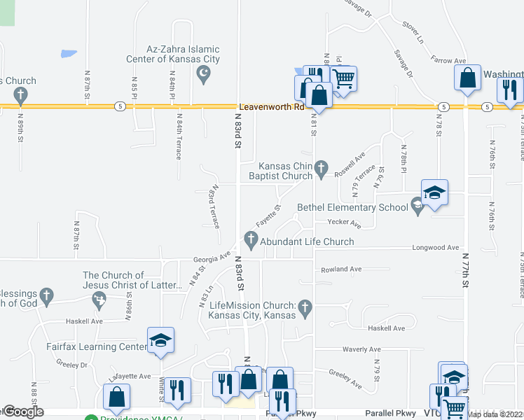 map of restaurants, bars, coffee shops, grocery stores, and more near 8218 Fayette Street in Kansas City