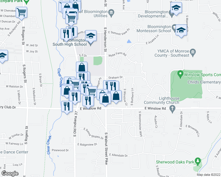 map of restaurants, bars, coffee shops, grocery stores, and more near 2339-2359 South Brandon Court in Bloomington