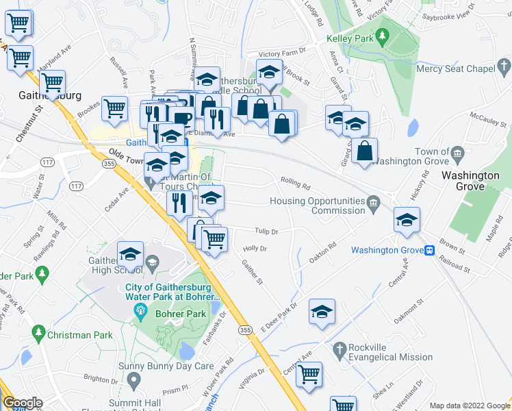 map of restaurants, bars, coffee shops, grocery stores, and more near Hutton Street in Gaithersburg