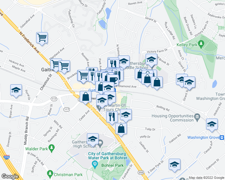 map of restaurants, bars, coffee shops, grocery stores, and more near 16 Linda Court in Gaithersburg