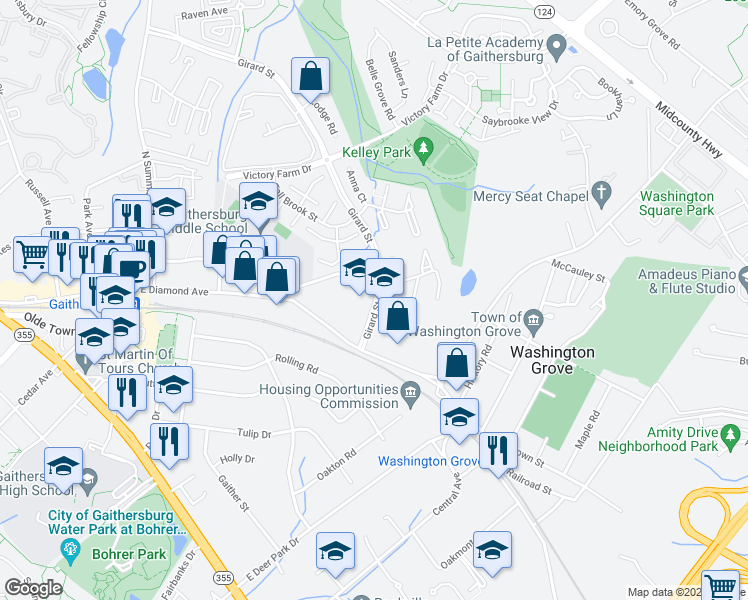 map of restaurants, bars, coffee shops, grocery stores, and more near 2-8 Federal Way in Gaithersburg