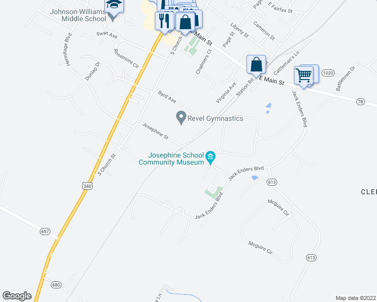map of restaurants, bars, coffee shops, grocery stores, and more near 219 Josephine Street in Berryville