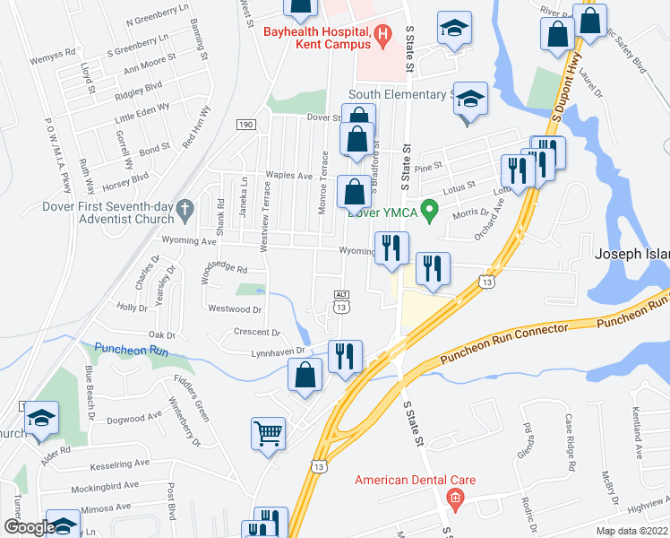 map of restaurants, bars, coffee shops, grocery stores, and more near 216 Jefferson Terrace in Dover