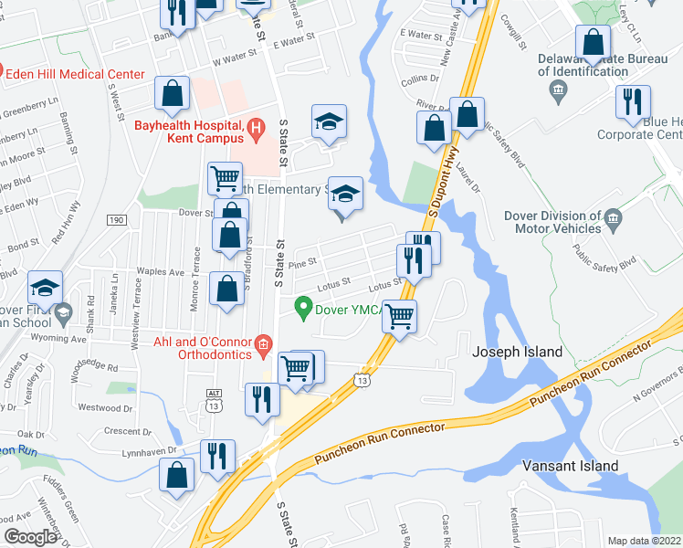 map of restaurants, bars, coffee shops, grocery stores, and more near 144 Pine Street in Dover