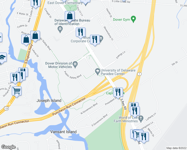 map of restaurants, bars, coffee shops, grocery stores, and more near 132 Transportation Circle in Dover