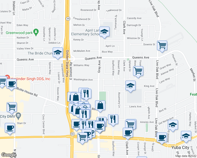 map of restaurants, bars, coffee shops, grocery stores, and more near Gray Avenue in Yuba City