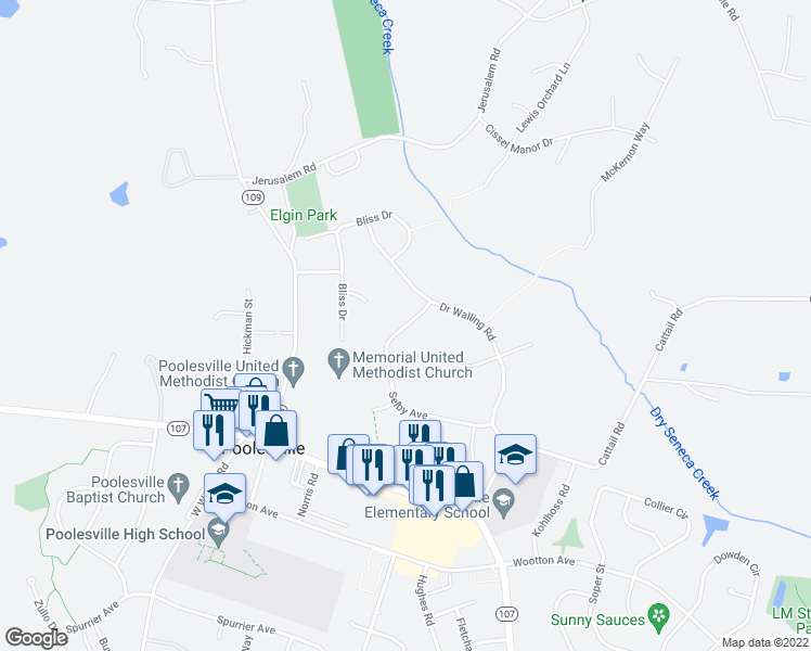 map of restaurants, bars, coffee shops, grocery stores, and more near Selby Avenue in Poolesville
