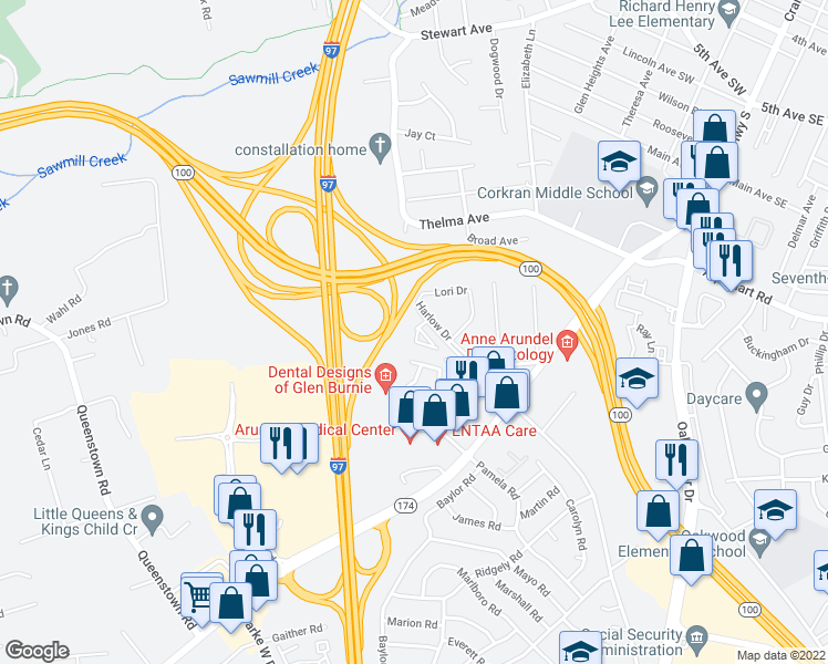 map of restaurants, bars, coffee shops, grocery stores, and more near 1002 Wisdom Court in Glen Burnie