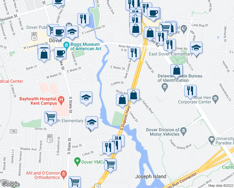 map of restaurants, bars, coffee shops, grocery stores, and more near 731 River Road in Dover