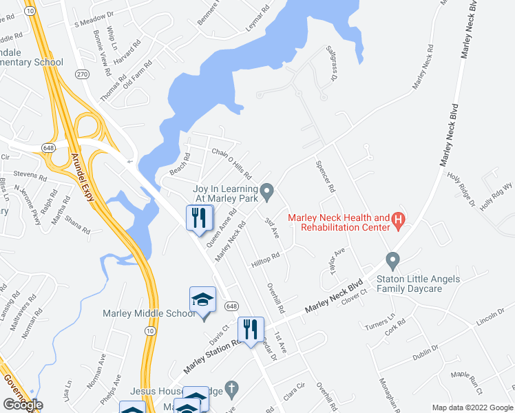 map of restaurants, bars, coffee shops, grocery stores, and more near 120 Marley Neck Road in Glen Burnie