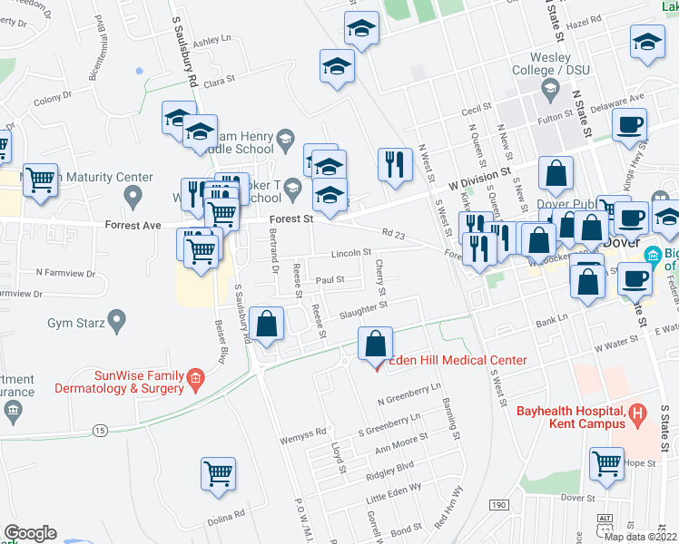 map of restaurants, bars, coffee shops, grocery stores, and more near 106 Davis Circle in Dover