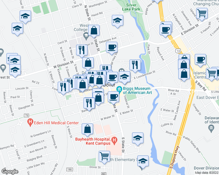 map of restaurants, bars, coffee shops, grocery stores, and more near in Dover
