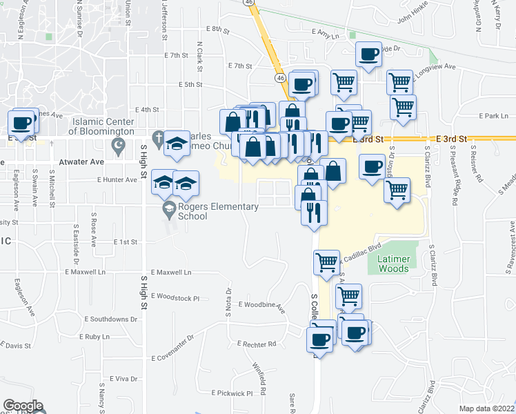 map of restaurants, bars, coffee shops, grocery stores, and more near 601 South Woodscrest Drive in Bloomington