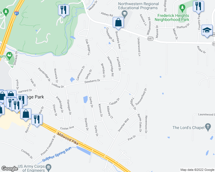 map of restaurants, bars, coffee shops, grocery stores, and more near 104 Tey Court in Winchester