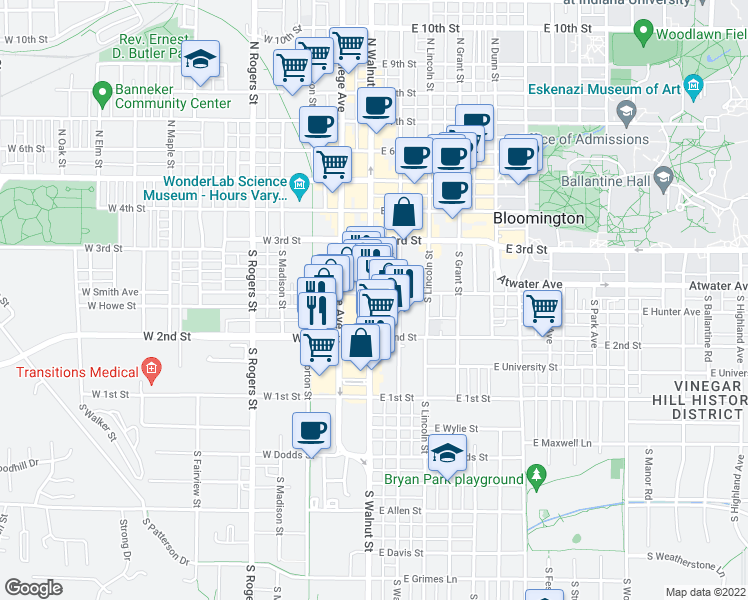 map of restaurants, bars, coffee shops, grocery stores, and more near 405 South Walnut Street in Bloomington