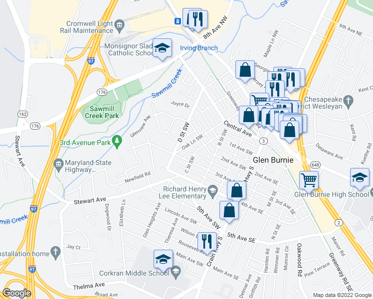 map of restaurants, bars, coffee shops, grocery stores, and more near 217 Oak Lane Southwest in Glen Burnie