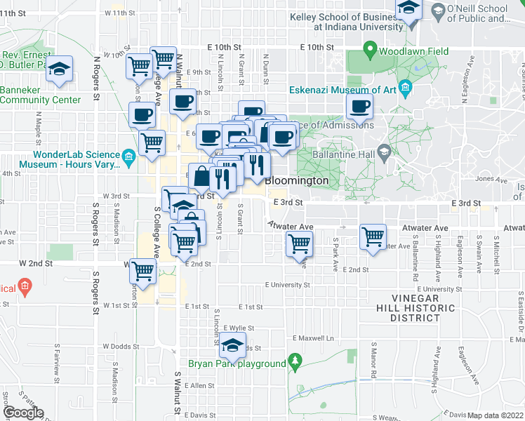 map of restaurants, bars, coffee shops, grocery stores, and more near 301-399 South Kirby Alley in Bloomington