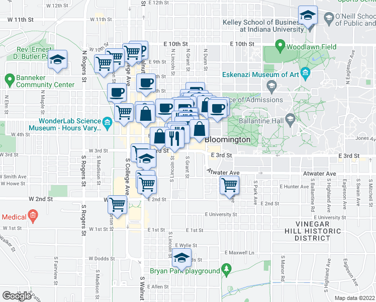 map of restaurants, bars, coffee shops, grocery stores, and more near 314 East 3rd Street in Bloomington