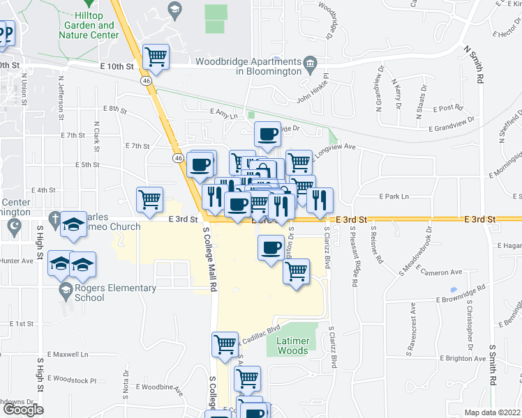 map of restaurants, bars, coffee shops, grocery stores, and more near 250 South Pete Ellis Drive in Bloomington