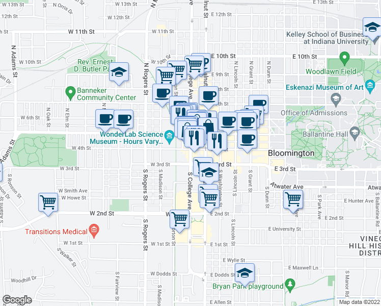 map of restaurants, bars, coffee shops, grocery stores, and more near 250-298 South College Avenue in Bloomington