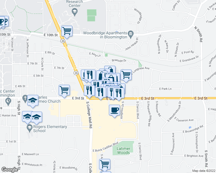 map of restaurants, bars, coffee shops, grocery stores, and more near 250 S Pete Ellis Dr in Bloomington