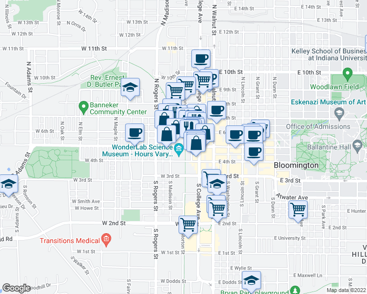 map of restaurants, bars, coffee shops, grocery stores, and more near 301-315 West Kirkwood Avenue in Bloomington