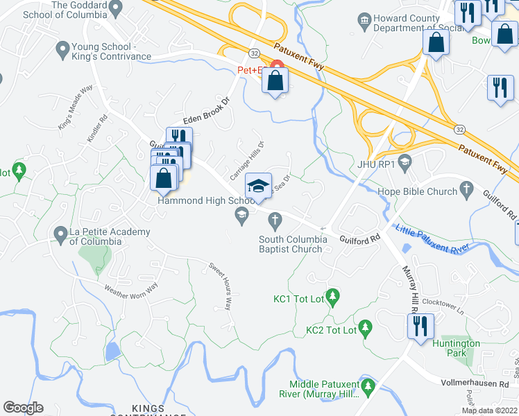 map of restaurants, bars, coffee shops, grocery stores, and more near 8800 Guilford Road in Columbia