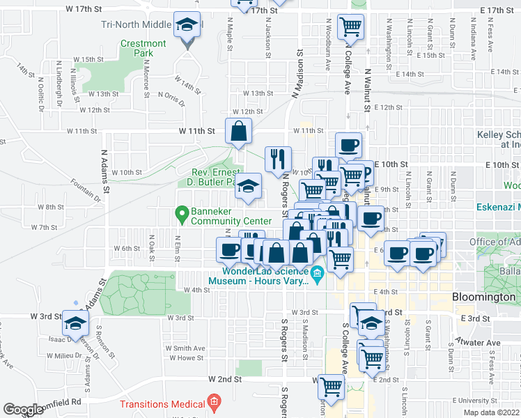 map of restaurants, bars, coffee shops, grocery stores, and more near 501-507 West 8th Street in Bloomington