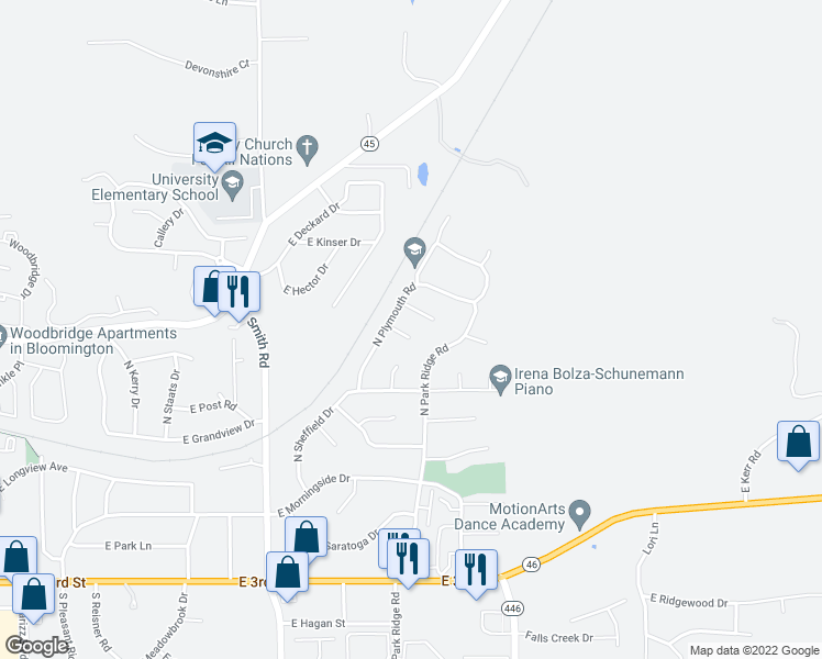 map of restaurants, bars, coffee shops, grocery stores, and more near 4317 East Wembley Court in Bloomington