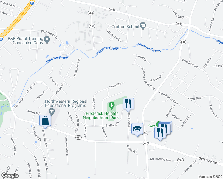map of restaurants, bars, coffee shops, grocery stores, and more near 302 Ridge Rd in Winchester