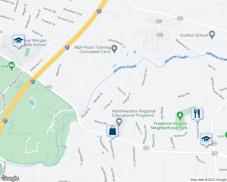 map of restaurants, bars, coffee shops, grocery stores, and more near 133 Meade Drive in Winchester