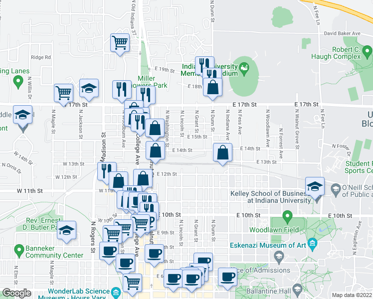 map of restaurants, bars, coffee shops, grocery stores, and more near 30