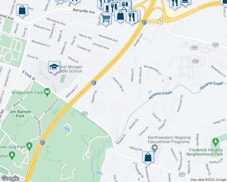 map of restaurants, bars, coffee shops, grocery stores, and more near 116 Wild Rose Circle in Winchester
