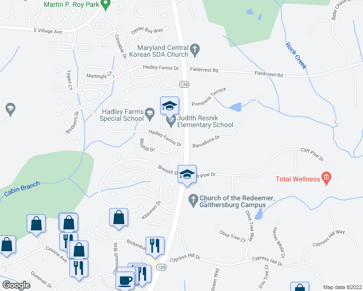 map of restaurants, bars, coffee shops, grocery stores, and more near 7300-7306 Hadley Farms Drive in Gaithersburg