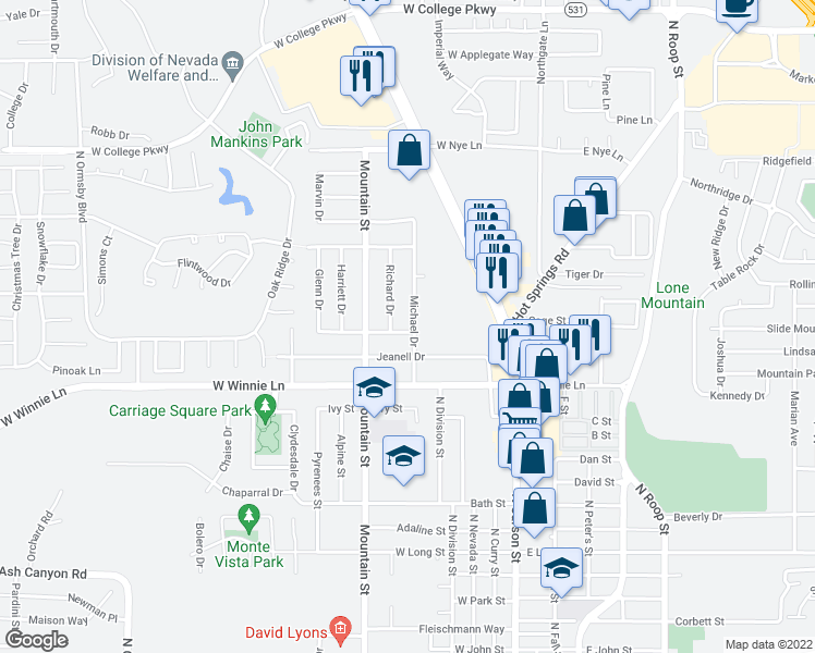 map of restaurants, bars, coffee shops, grocery stores, and more near 600 Norrie Dr in Carson City