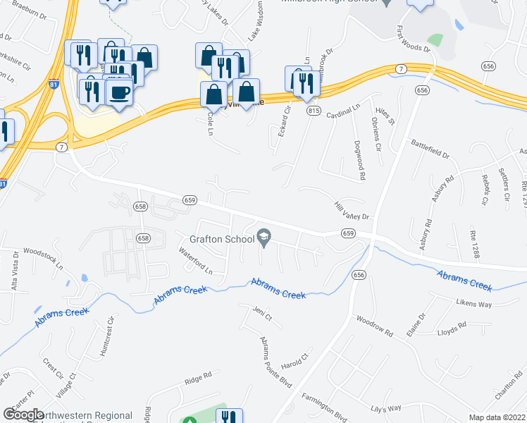 map of restaurants, bars, coffee shops, grocery stores, and more near 443 Valley Mill Road in Winchester