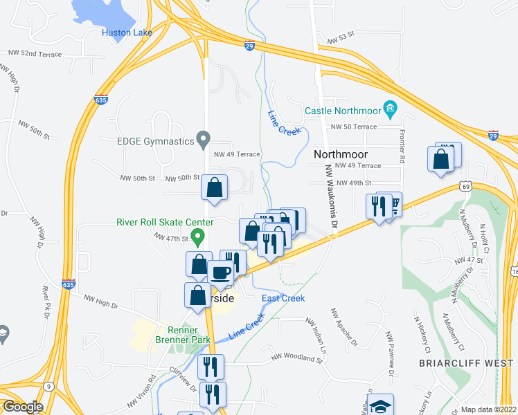 map of restaurants, bars, coffee shops, grocery stores, and more near 4830 Northwest Homestead Terrace in Riverside